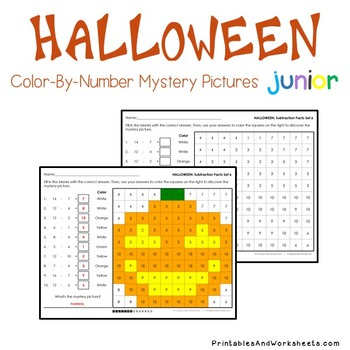 Halloween Math Subtraction Worksheets, Mystery Pictures Coloring Sheets