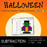 Mystery Picture, Subtraction Facts Halloween Math Coloring Worksheets