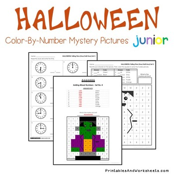 Halloween Telling Time Coloring Worksheets, Mystery Picture Math Activity