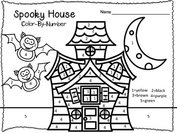 Halloween Color-By-Number Worksheets