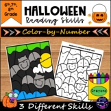 Halloween Color By Number for Reading and Writing Skills P