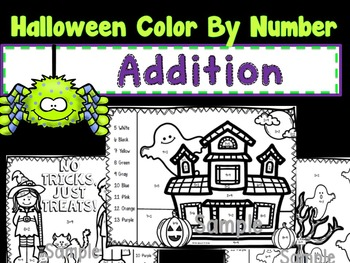 Halloween Color By Number with Addition