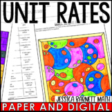 Rates to Unit Rates Activity | Coloring | Distance Learning | Digital and Print