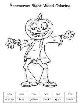 halloween color by sight words - Words About Halloween
