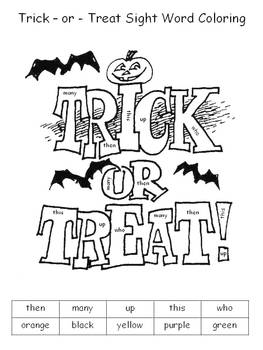 Halloween Color By Sight Words by Klever Kiddos   TpT