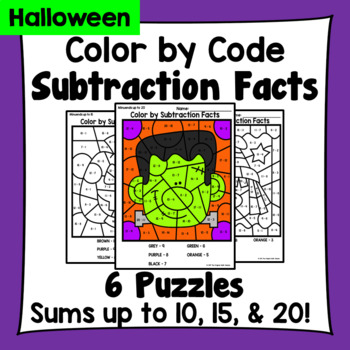 Halloween Color By Subtraction Facts: Minuends up to 10, 15, & 20