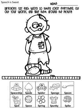 halloween therapy coloring pages   Halloween Articulation Activities: S-Blends by Speech Is ...