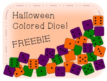 Halloween Color Die/ Dice Clip Art - Green/ Orange/ Purple FREEBIE