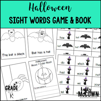 Halloween Sight Words Game + Read & Color Book
