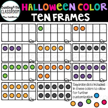 Halloween Color Ten Frames Clip Art  {Halloween Clip Art}