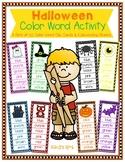 Halloween Color Word Activity