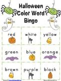 Halloween Color Word Bingo Game