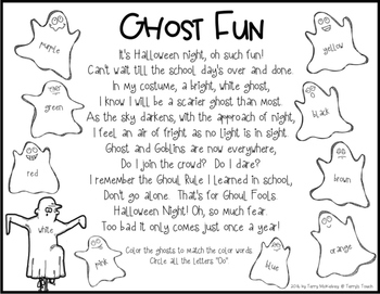 Halloween Color Word Rhyming