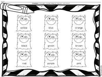 Halloween Color Words (Kindergarten, Fall Activities)
