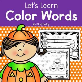 Halloween Color Words (Kindergarten, Fall Activities, Color Word Worksheets)