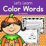 Halloween Activities: Color Word Worksheets (Kindergarten, Fall Activities)