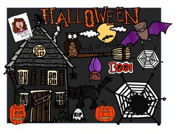 Halloween Color and Black&White Bundles by Marilou's Doodles