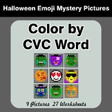 Halloween: Color by CVC Word - Halloween Emoji Mystery Pictures