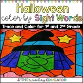 Halloween Color by Code 1st and 2nd Grade Sight Word Worksheets