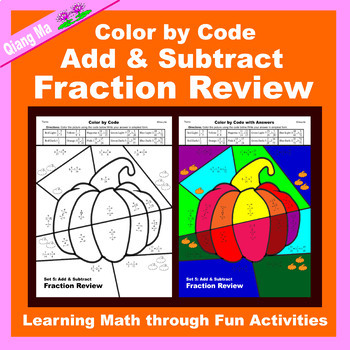 Halloween Color by Code: Add & Subtract Fraction Review