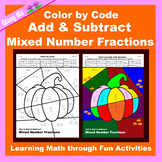 Halloween Color by Code: Add & Subtract Mixed Number Fractions