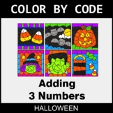 Halloween Color by Code - Adding 3 Numbers