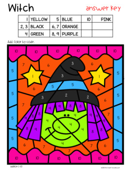 Halloween Color by Code Addition and Subtraction
