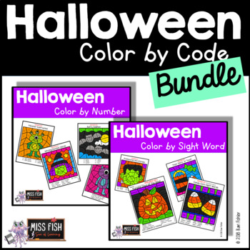 Halloween Color by Code Bundle (Color by Sight Word & Color by Number)