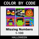 Halloween Color by Code - Find the Missing Numbers (1-100)
