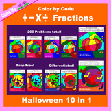 Halloween Color by Code: Fractions: Add, Subtract, Multiply, & Divide 10 in 1