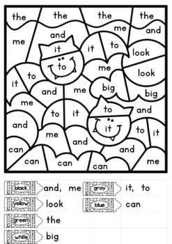 Halloween Color by Code: Letters and Sight Words
