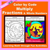 Halloween Color by Code: Multiply Fractions & Whole Numbers