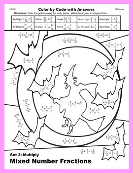 Halloween Color by Code: Multiply Mixed Number Fractions