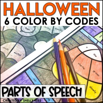 Halloween Coloring Pages Parts of Speech Color by Number