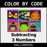 Halloween Color by Code - Subtracting 3 Numbers