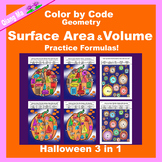 Halloween Color by Code: Surface Area and Volume: Practice Formulas 3 in 1
