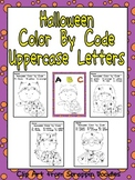 Halloween Color by Code Uppercase Letters- Preschool or Kindergarten