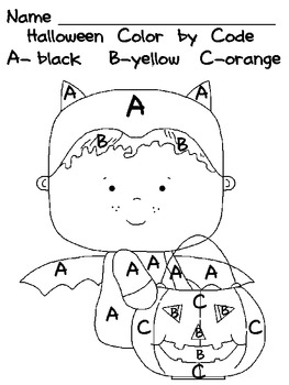 Halloween Color By Code Uppercase Letters Preschool Or
