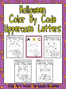 Halloween Color by Code Uppercase Letters- Preschool or Ki