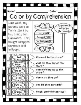 Halloween (Color by Comprehension Stories & Questions) - 10 Stories