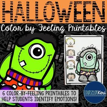 Halloween Color-by-Feeling Printables - Elementary School