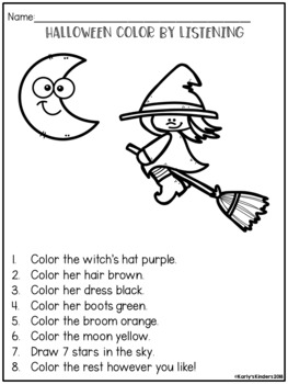 Following directions coloring pages ~ Halloween Color by Listening (A Following Directions ...