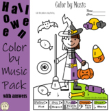 Halloween Music Coloring Pages | Color by Note and Symbol