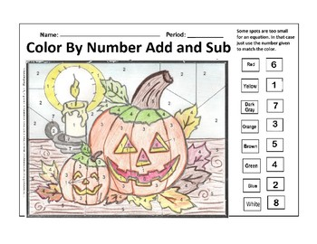 Halloween Color by Number 1st and 2nd Grade Add and Subtract