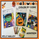 Halloween Color by Number Addition Facts