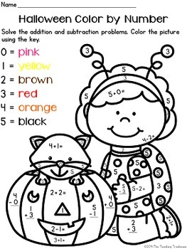 Kindergarten Worksheets: Halloween Color by Numbers Worksheets