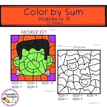 Halloween Color by Number- Addition and Doubles to 12