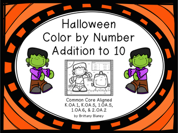 Halloween Color by Number Addition to 10 FREEBIE