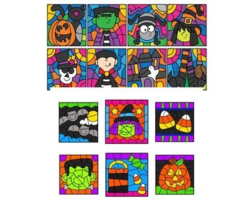 Halloween Color by Number Multiplication BUNDLE 2 Sets