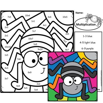 Halloween Color by Number Multiplication Facts Set